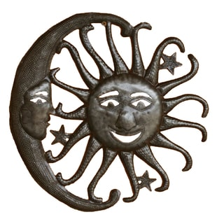 Handcrafted Recycled Steel Sun, Moon and Stars Wall Art  , Handmade in Haiti