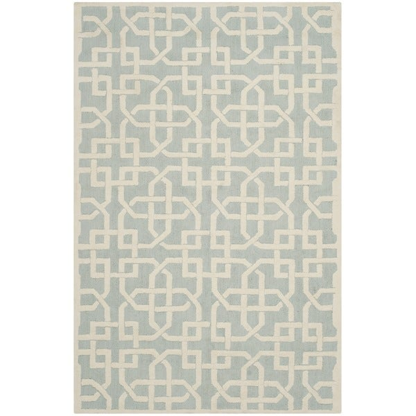 Safavieh Hand-hooked Newport Light Blue/ White Cotton Rug (7'9 x 9'9)