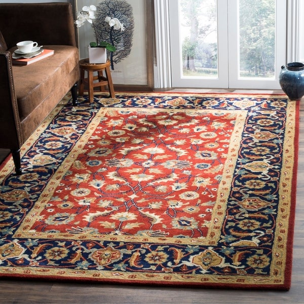 Safavieh Handmade Royalty Rust/ Navy Wool Rug - 8' x 10'