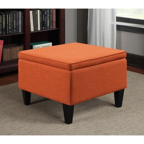 Clay Alder Home Pope Street Orange Linen Table Storage Ottoman