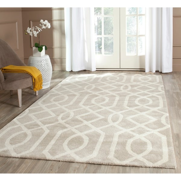 "Safavieh Handmade Soho Grey/ Ivory New Zealand Wool/ Viscose Rug - 8'3"" x 11'"