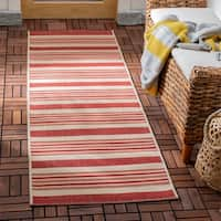 Safavieh Indoor/ Outdoor Courtyard Beige/ Red Rug - 2'3 x 6'7