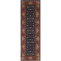 Safavieh Handmade Royalty Navy/ Rust Wool Rug - 2'3 x 7'
