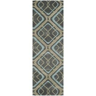 Safavieh Handmade Soho Grey New Zealand Wool/ Viscose Rug (2'6 x 8')