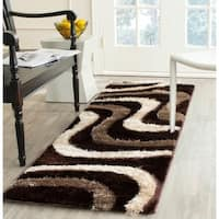 Safavieh Miami Shag Abstract Silken-Embossed Brown/ Beige Shag Runner (2'3 x 9') - 2'3 x 9'