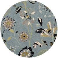 Safavieh Hand-Hooked Four Seasons Floral Blue/ Multicolored Polyester Rug - 4' Round
