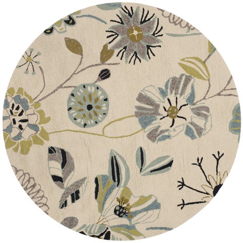Safavieh Hand-Hooked Four Seasons Floral Ivory / Blue Polyester Rug - 4' x 4' Round