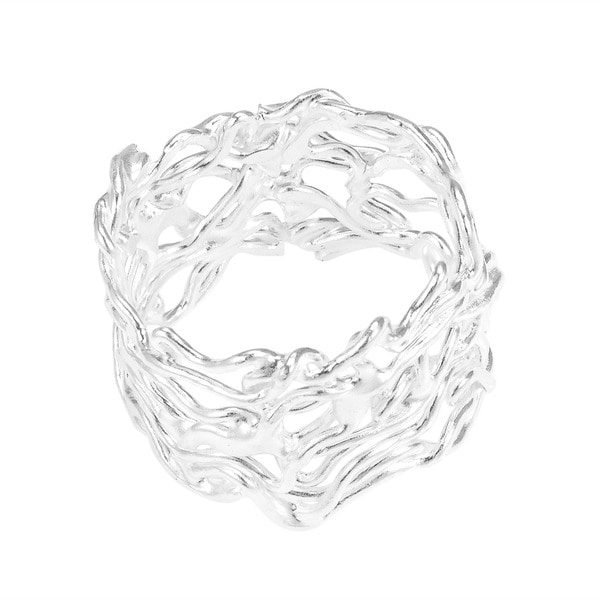 Handmade Modern Wire Mesh Twist Band Sterling Silver Ring (Thailand)