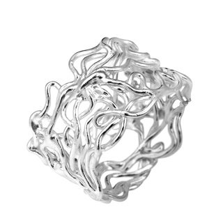 Modern Wire Mesh Twist Band Sterling Silver Ring (Thailand)