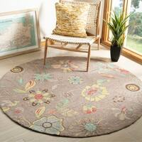 Safavieh Hand-Hooked Four Seasons Floral Grey / Blue Polyester Rug - 6' Round