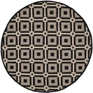 Safavieh Indoor/ Outdoor Four Seasons Black/ Grey Rug (6' Round)