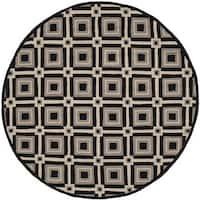 Safavieh Hand-Hooked Four Seasons Black/ Grey Polyester Rug - 6' Round