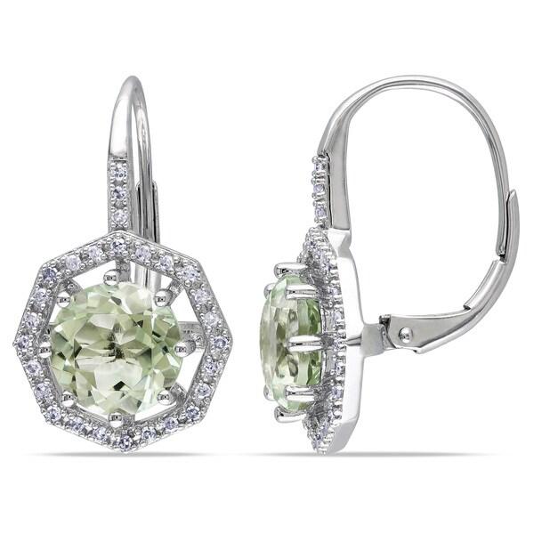 Miadora 10k White Gold Green Amethyst and 1/5ct TDW Diamond Earrings (H-I, I2-I3)