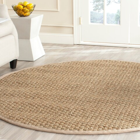 Safavieh Casual Natural Fiber Natural and Beige Border Seagrass Rug - 6' Round