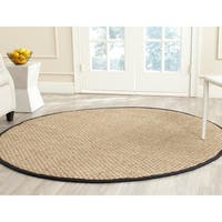 Safavieh Casual Natural Fiber Natural and Black Border Seagrass Rug (6' Round) - 6'