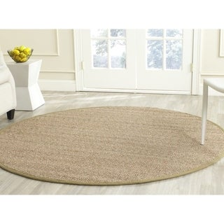 Safavieh Casual Natural Fiber Herringbone Natural and Olive Border Seagrass Rug (6' Round)