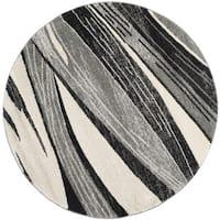 Safavieh Retro Modern Chic Abstract Light Grey/ Ivory Rug - 6' Round