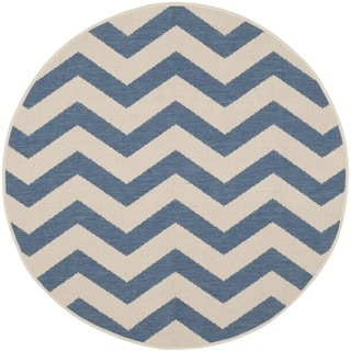 Safavieh Courtyard Zig-Zag Blue/ Beige Indoor/ Outdoor Rug (7'10 Round)