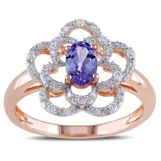 Miadora 14k Rose Gold Tanzanite and 1/6ct TDW Diamond Flower Ring (G-H, I1-I2)
