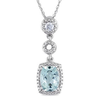 Miadora 10k White Gold Aquamarine and 1/10ct TDW Diamond Necklace (G-H, I1-I2)