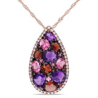 Miadora 14k Rose Gold Multi-gemstone and 1/10ct TDW Diamond Necklace (G-H, I1)