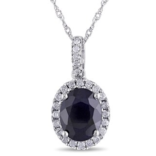 Miadora 14k White Gold Sapphire and 1/4ct TDW Diamond Necklace (G-H, I1-I2)