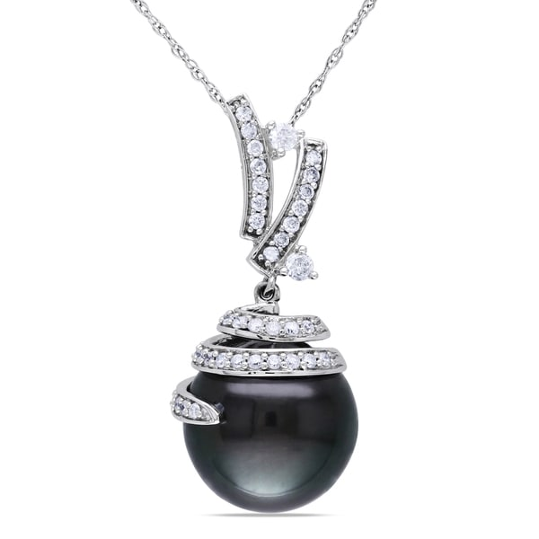 Miadora 10k White Gold Tahitian Pearl 1/3ct TDW Diamond Necklace (H-I, I2-I3)