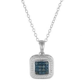 Fremada Sterling Silver Rhodium Plated Sterling Silver 1/10ct TDW Blue Diamond Square Pendant Necklace (18 inch)