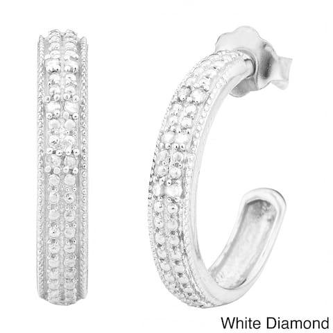 Fremada 1/10ct TDW Half Hoop Black or White Diamond Earrings