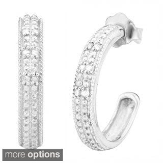 Fremada 1/10ct TDW Half Hoop Black or White Diamond Earrings