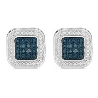 Fremada Rhodium Plated Sterling Silver 1/10ct TDW Blue Diamond Square Earrings (I1-I2)
