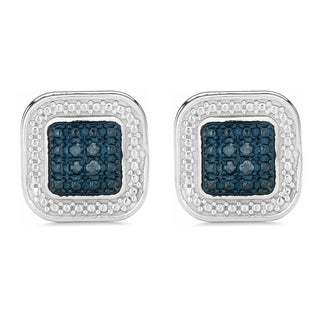 Fremada Rhodium Plated Sterling Silver 1/10ct TDW Blue Diamond Square Earrings