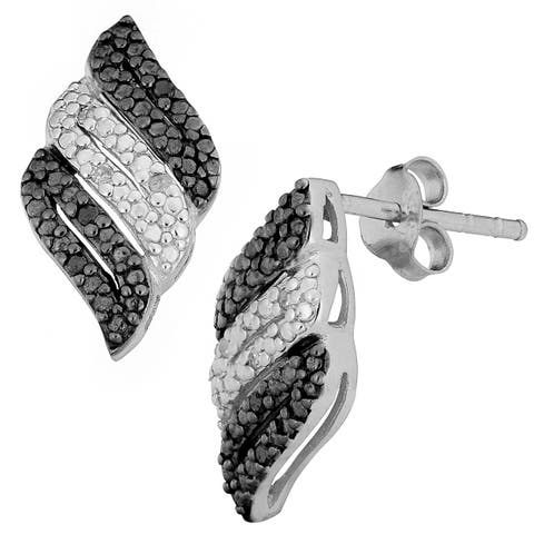 Fremada Rhodium-plated Sterling Silver 1/10ct TDW Black and White Diamond Earrings