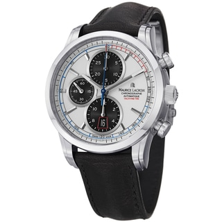Maurice Lacroix Men's PT6288-SS001-130 'Pontos' White Dial Chrono Black Strap Watch