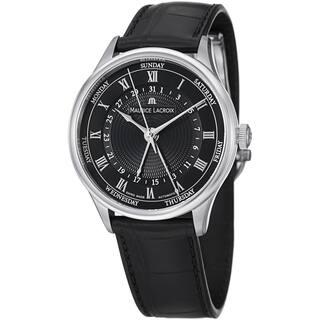 Maurice Lacroix Men's MP6507-SS001-310 'MasterPiece' Black Dial Day Date Strap Watch|https://ak1.ostkcdn.com/images/products/8746514/Maurice-Lacroix-Mens-MP6507-SS001-310-MasterPiece-Black-Dial-Day-Date-Strap-Watch-P15991837.jpg?impolicy=medium