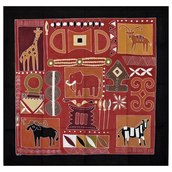 Hand-painted 'African Traditional Block' Tapestry (Zambia)