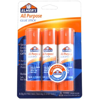 All Purpose Glue Sticks 3/Pkg-.77oz Each