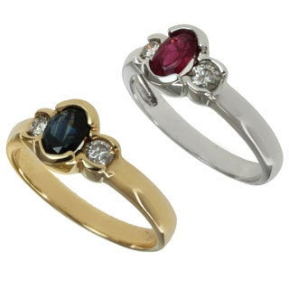 Michael Valitutti 14k White or Yellow Gold Diamond and Ruby or Blue Sapphire Ring