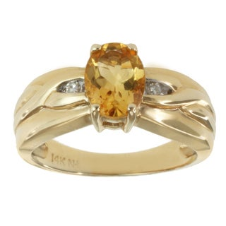 M.V. Jewels 14k Yellow Gold Citrine and Diamond Accent Ring