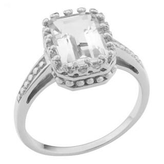 Fremada Rhodium Plated Sterling Silver Emerald-cut White Topaz Ring