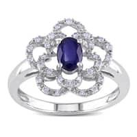 Miadora 14k White Gold Sapphire and 1/6ct TDW Diamond Flower Ring (G-H, I1-I2)