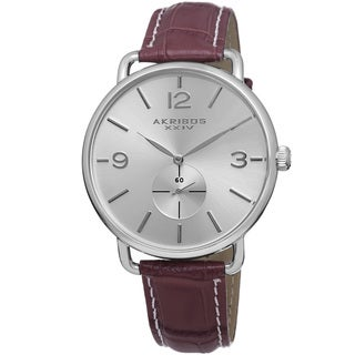 Akribos XXIV Women's Slim Sunray Dial Leather Strap Watch