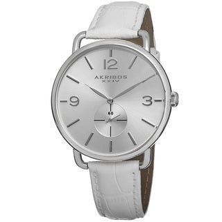 Akribos XXIV Women's Slim Sunray Dial Leather Silver-Tone Strap Watch