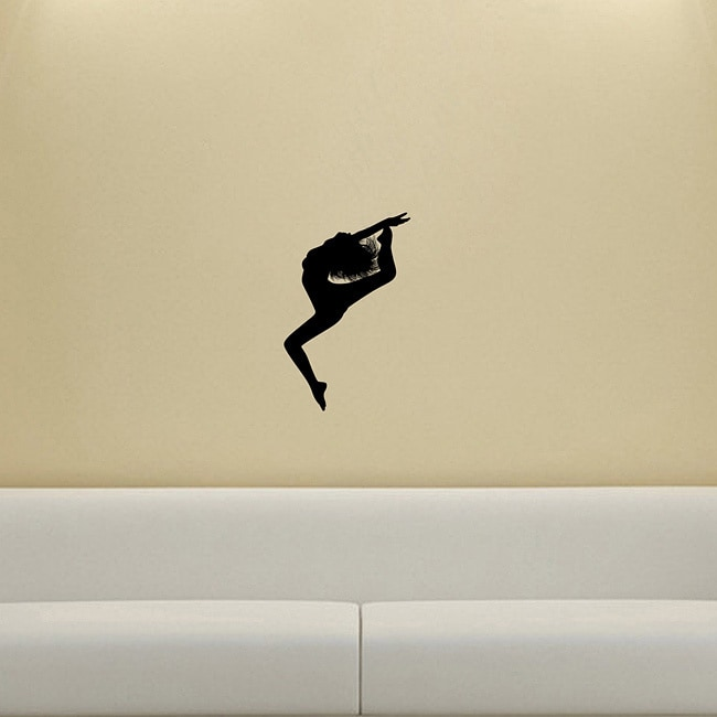 Girl Dancing Silhouette Vinyl Decal Wall Sticker (Glossy blackEasy to apply You will get the instructionDimensions 25 inches wide x 35 inches long )