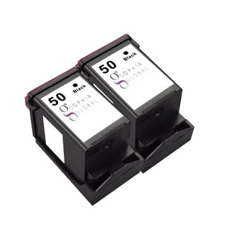 Sophia Global Remanufactured Black Ink Cartridge for Lexmark 50 (Pack of 2)