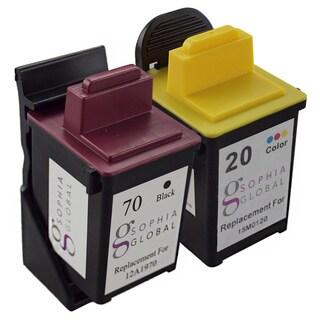 Sophia Global Remanufactured Ink Cartridge for Lexmark 70 and Lexmark 20 (1 Black, 1 Color)