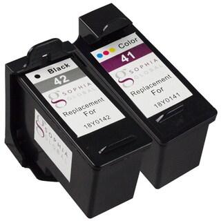 Sophia Global Remanufactured Ink Cartridge for Lexmark 41 and Lexmark 42 (1 Black, 1 Color)