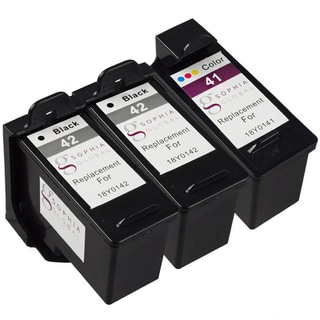 Sophia Global Remanufactured Ink Cartridge for Lexmark 41 and Lexmark 42 (2 Black, 1 Color)