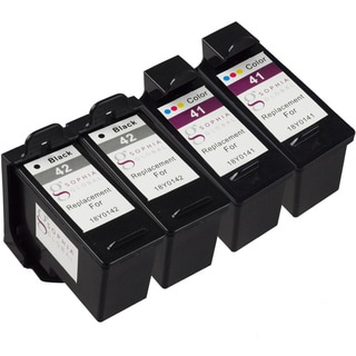 Sophia Global Remanufactured Ink Cartridge for Lexmark 41 and Lexmark 42 (2 Black, 2 Color)