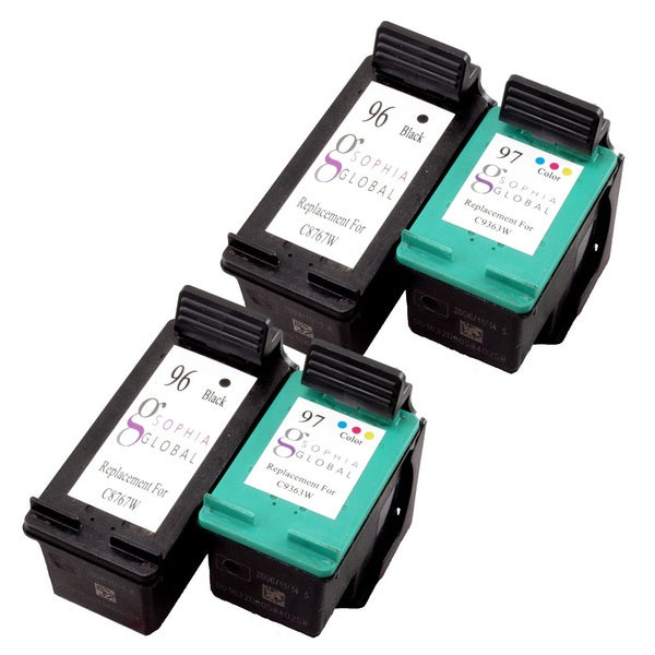 Sophia Global Remanufactured Ink Cartridges for HP 96 and 97 (2 Black, 2 Color)